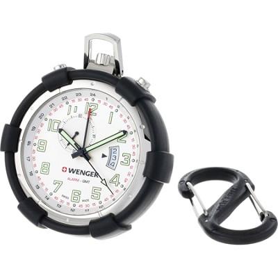 Men's Traveler Pocket Alarm Watch - Silver Dial/Black Silicone Pouch