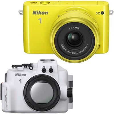 1 S2 Mirrorless Yellow Digital Camera 11-27.5mm Lens Underwater Housing Bundle