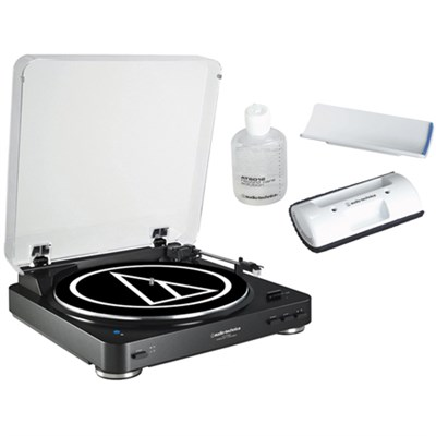 Wireless Belt-Drive Stereo Turntable w/ Record Vinyl Cleaner Kit, Black