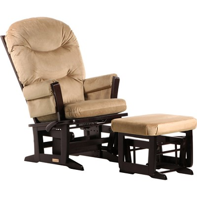 Modern Glider Multiposition, Recline and Ottoman Combo (Light Brown)