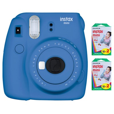 Instax Mini 9 Instant Camera - Cobalt Blue w/ 40 Sheets Of Instant Film