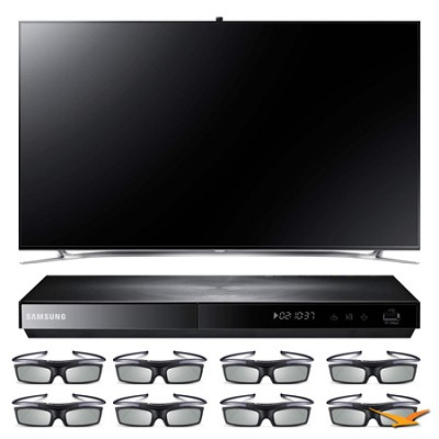 UN75F8000 75` 3D Slim Smart WiFi LED HDTV and 3D Blu-ray with 3D Glasses Bundle