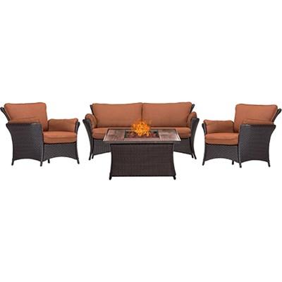 Strathmere Allure 4-Piece Lounge Set w/ Fire Pit Table - STRALLR4PCFP-RST-WG