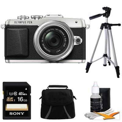 Mirrorless Micro Four Thirds Silver Digital Camera w/ 14-42mm IIR Lens Bundle