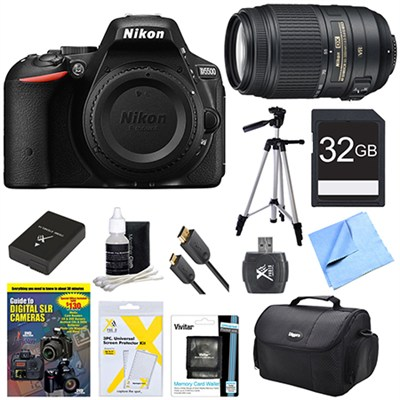 D5500 Black Digital SLR Camera, 55-300 Lens, 32GB, and Battery Bundle