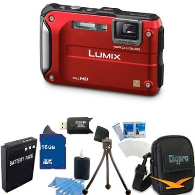Lumix DMC-TS3 Red Shockproof Freezeproof Dustproof Camera 16GB Bundle