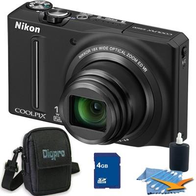 COOLPIX S9100 12MP Black Digital Camera 4GB Bundle