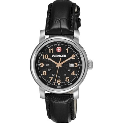 Ladies' Urban Classic Watch - Black Sunray Textured Dial/Black Leather Strap