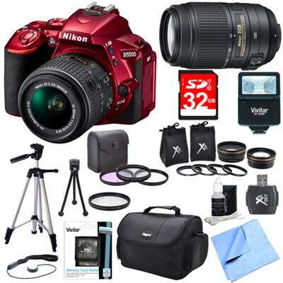D5500 Red DSLR Camera 18-55mm Lens, 55-300 Lens, Lens Set, and Flash Bundle