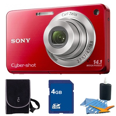 Cyber-shot DSC-W560 Red Digital Camera 4GB Bundle