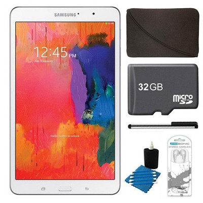 Galaxy Tab Pro 8.4` White 16GB Tablet, 32GB Card, Headphones, and Case Bundle