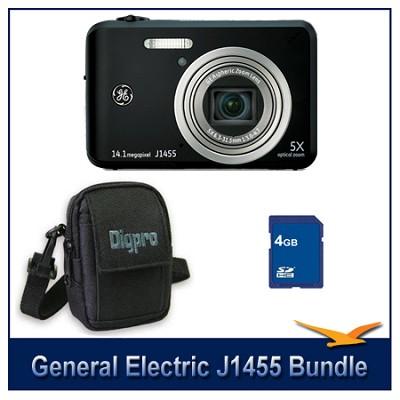 J1455 14MP Smart Series Black Digital Camera 4GB Memory Card and Case Bundle
