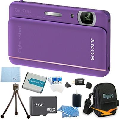Cyber-shot DSC-TX66 18.2 MP CMOS Camera 5X Zoom 3.3` OLED Violet 16GB Memory Kit