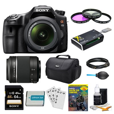SLTA65VL DSLR 24.3MP 18-55mm Zoom SLR Black Camera 55-200mm 64GB Bundle