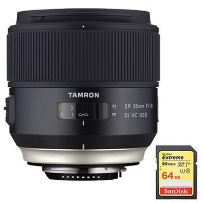 SP 35mm f/1.8 Di VC USD Lens for Nikon Mount (AFF012N-700) w/ 64GB Memory Card