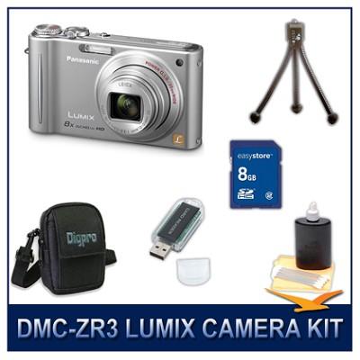 DMC-ZR3S LUMIX 14.1 MP Digital Camera (Silver), 8GB SD Card, and Camera Case