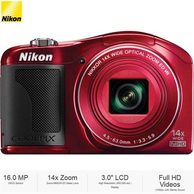 COOLPIX L610 16MP 3` LCD Red Digital Camera 26346B - (Certified Refurbished)