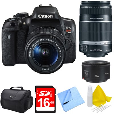 EOS Rebel T6i Digital SLR Camera with 18-55mm, 55-250mm, 50mm Lens Bundle