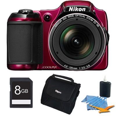 COOLPIX L820 16 MP 30x Zoom Digital Camera - Red Plus 8GB Memory Kit