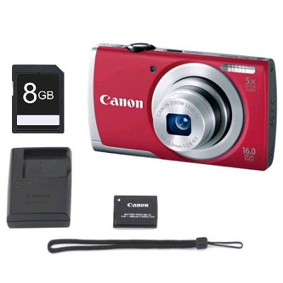 16MP 5x Zoom Camera with Wrist Stap, Battery Pack & Charger, & 8GB Memory Card