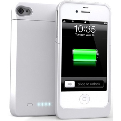 DX 1700mAh External Protective Battery Case iPhone 4/4s (MFI Approved) - White