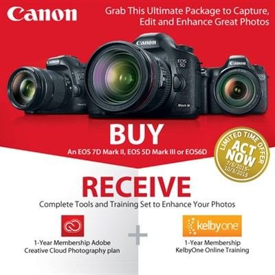 Canon 1-Year Adobe Creative Cloud and KelbyOne Offer (See Link for Details)