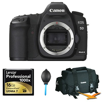 EOS 5D Mark II 21.1MP Full Frame CMOS DSLR Camera (Body Only) Plus 16 GB Bundle