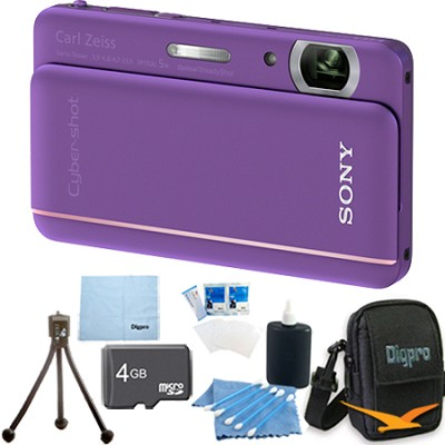 Cyber-shot DSC-TX66 18.2 MP CMOS Camera 5X Zoom 3.3` OLED Violet 4 GB Memory Kit