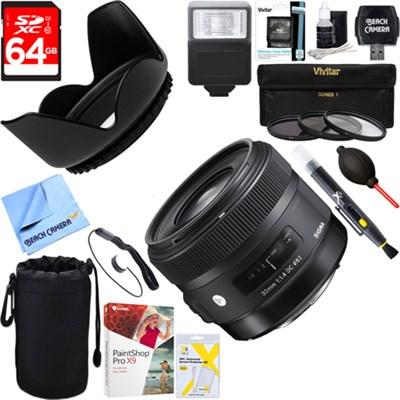 30mm F1.4 ART DC HSM ART Lens for Canon DSLR Cameras + 64GB Ultimate Kit