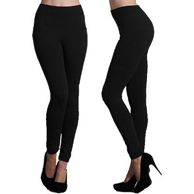 Single Pack Seamless Full Length Fleece Leggings Midnight Black One Size