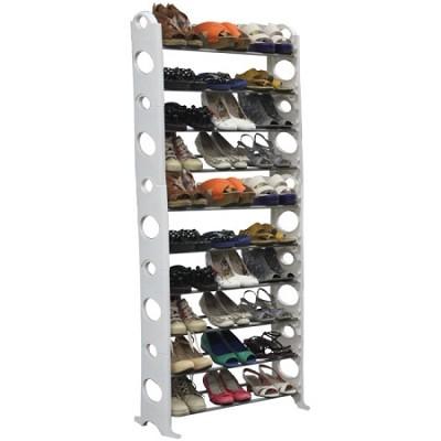 30-Pair Easy To Assemble Shoe Rack - White - OPEN BOX