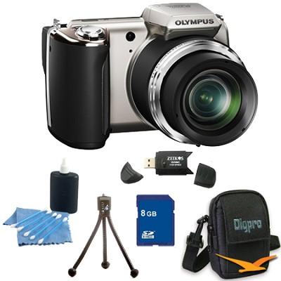 8 GB Kit SP-620UZ 16 MP 3-inch LCD Black Digital Camera - Silver