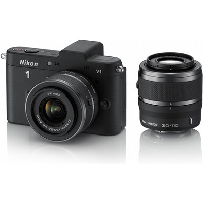 1 V1 SLR Black Digital Camera w/ 10-30mm & 30-110mm VR Lenses