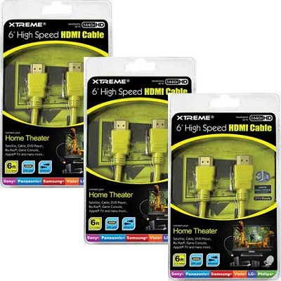 6 ft High Speed Ethernet Full HD 1080p Yellow HDMI Cable