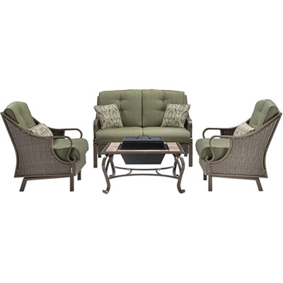 Ventura 4pc Fire Pit Set: 1 Loveseat 2 Side Chairs 1 Wood Burning FPit