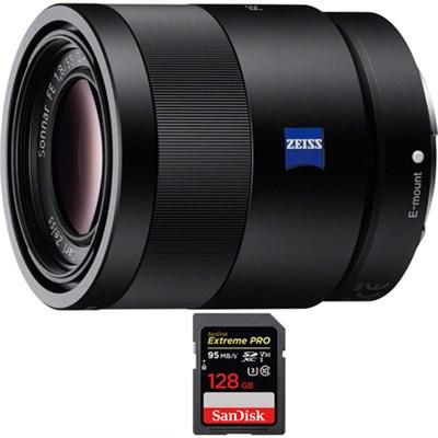 Sonnar T* FE 55mm F1.8 ZA Full Frame E-Mount Lens with 128GB Memory Card
