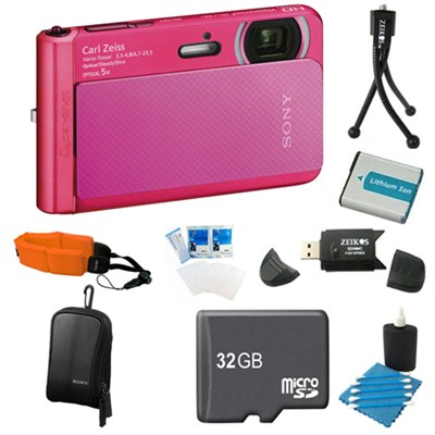 DSC-TX30/P Pink Digital Camera 32GB Bundle