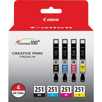 CLI-251 BK/CMY 4 Pack Ink Cartridges for Canon InkJet Printers