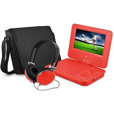 7` Swivel Red Portable DVD Player with Matching Headphones and Bag - EPD707RD
