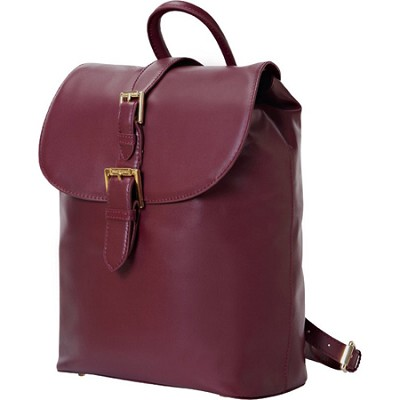 Isaac Mizrahi `KATHRYN` Mini Camera Backpack in Genuine Leather - Burgundy