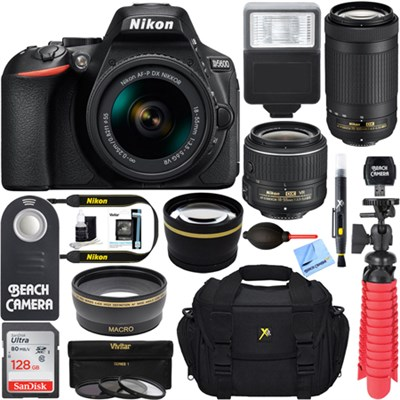 D5600 24.2MP DSLR Camera + AF-P 18-55mm & 70-300mm Lens Memory & Flash Kit