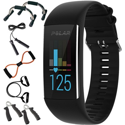 A370 Fitness Tracker with 24/7 Wrist Based HR, Black + 7-in-1 Fitness Kit