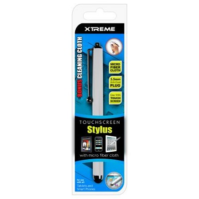 White Basic Touch Screen Stylus w/ Micro Fiber Cloth