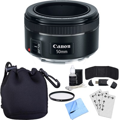 EF 50mm f/1.8 STM Prime Lens w/ Essential Photography Accessory Bundle