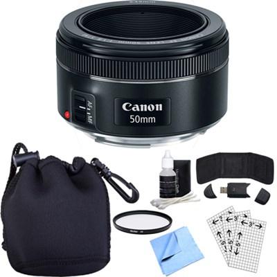 EF 50mm f/1.8 STM Prime Lens w/ Essential Photography Accessory Bundle