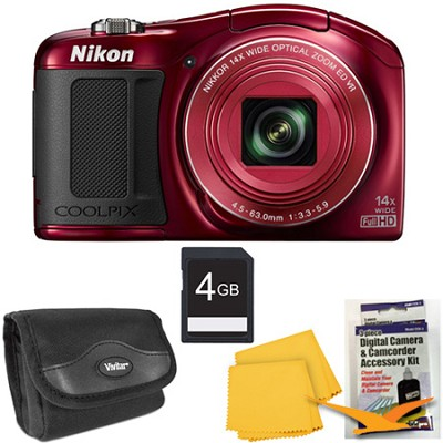 COOLPIX L620 18.1 MP CMOS 14x Zoom 1080p HD Red Digital Camera Kit