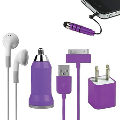 5-in-1 Travel Kit for iPhone 4/4S and 4th Generation iPods - Purple
