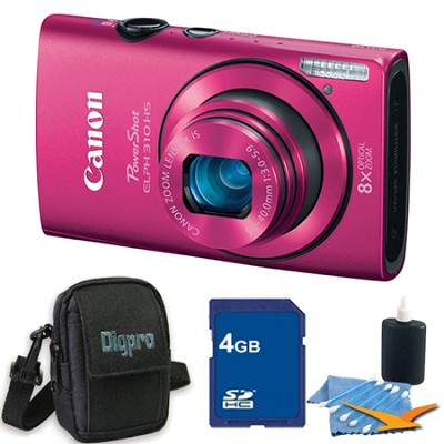 PowerShot ELPH 310 HS 12MP Pink Digital Camera 4GB Bundle