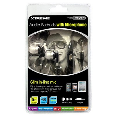 Audio Earbuds with Microphone Black