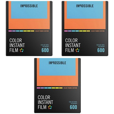 3-Pack Polaroid 600 and Instant Lab Film Color w/ Color Frames